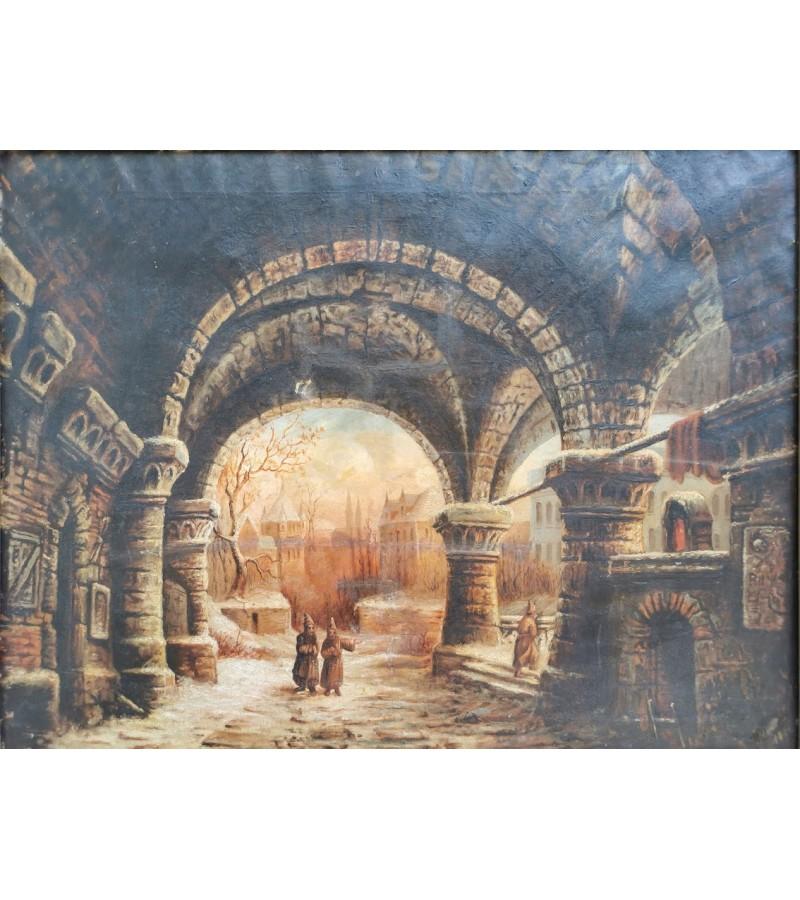 Paveikslas antikvarinis Vienuolynas. Aliejus, drobė. Kaina 218