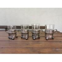 Podstakanikai, stiklinių laikikliai antikvariniai su stiklinėmis. 4 vnt. Kaina po 16