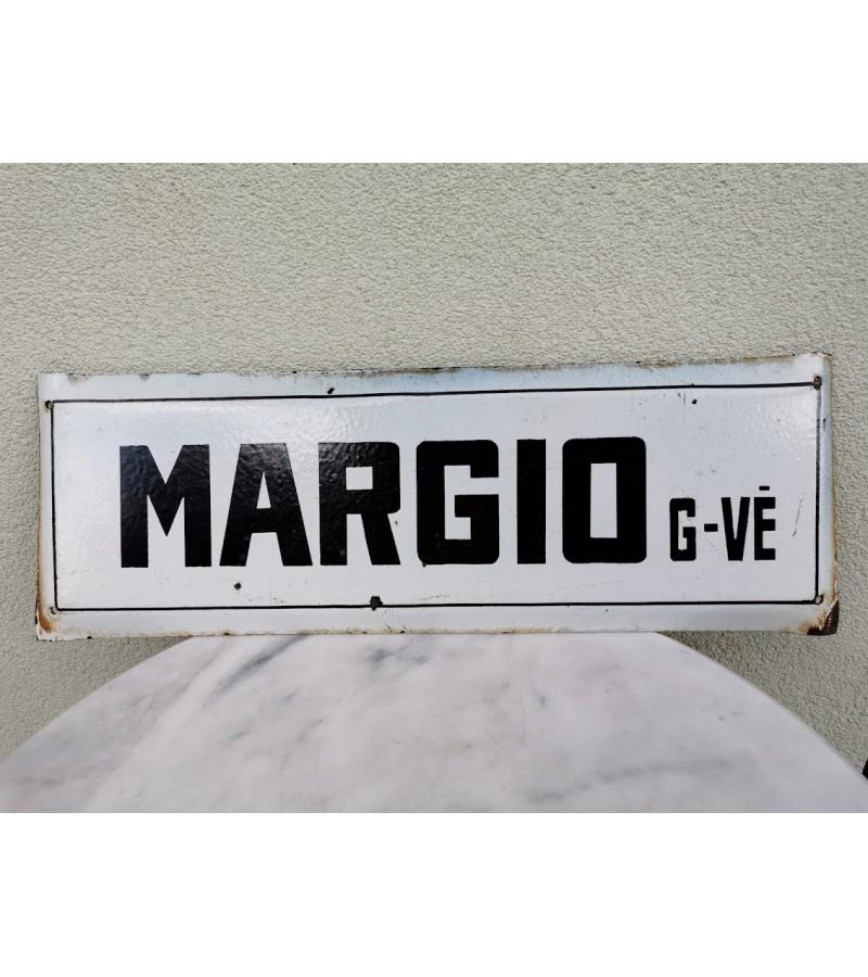 Iškaba, lentelė, emaliuotas tarybinių laikų gatvės pavadinimas. MARGIO GT. Kaina 33