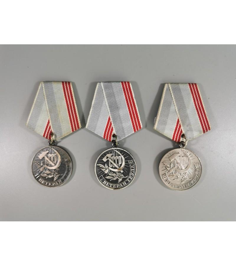 Medaliai Darbo veteranas, tarybiniai, sovietinių laikų. 3 vnt. Kaina po 8