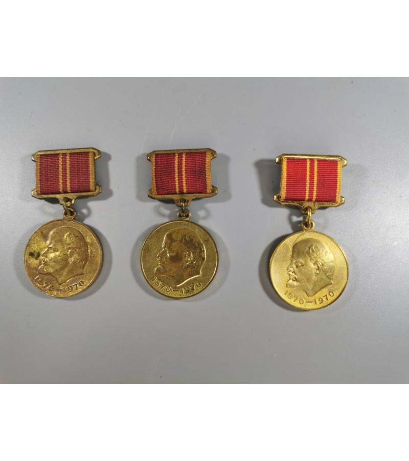 Medaliai Lenino 100 gimimo metinėms, 1970 m., tarybiniai, sovietinių laikų. 3 vnt. Kaina: 5, 5 ir 9.