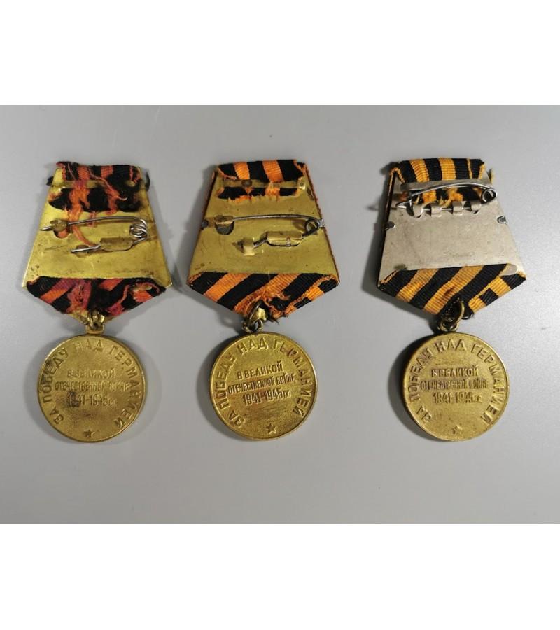 Medaliai tarybiniai Už pergalę prieš Vokietiją, Stalin. 1941-1945, sovietinių laikų 3 vnt. Kainos: 31, 36, 38.