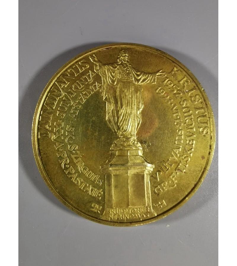 """Medalis """"Palanga – Laiminantis Kristus""""  Žalvaris, kaltas, skersmuo 51 mm. Autorius P. Gintalas. 1993 m. Kaina 18"""