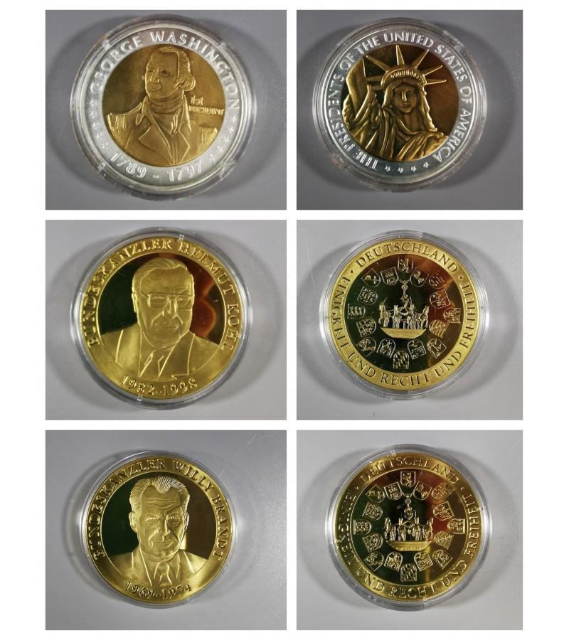 Medaliai: G. Washington, H. Kohl, W. Brandt. 3 vnt. Kaina po 12