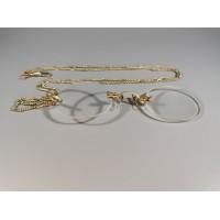 Pensne akiniai, antikvariniai, su grandinėle. Kaina 53