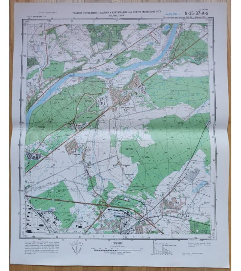 Karinis slaptas topografinis žemėlapis, KARMĖLAVA. Originalas. Kaina 23