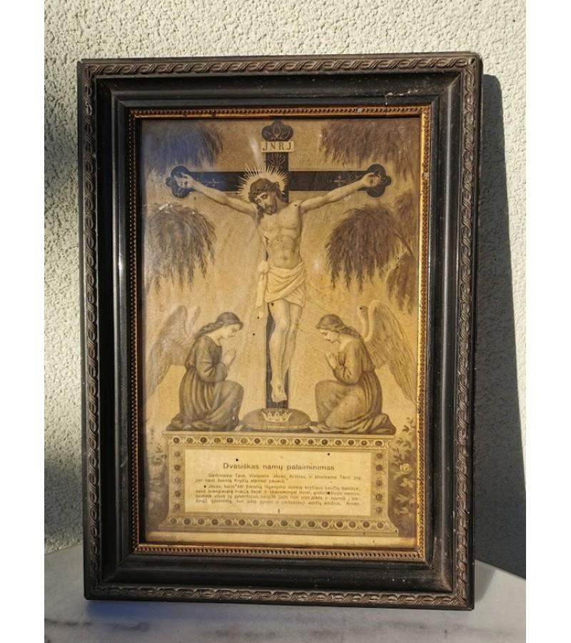 Paveikslėlis šventas Dvasiškas namų palaiminimas, lietuviškas tarpukario laikų. Kaina 53