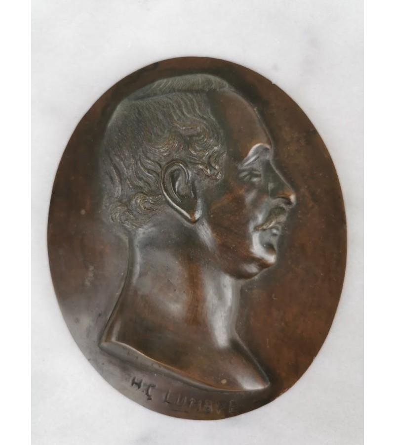 Bareljefas bronzinis H. C. Lumbye (1810-1874), antikvarinis. Kaina 73