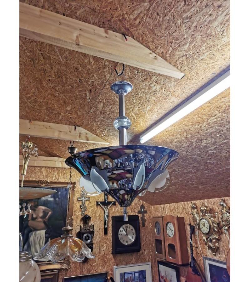 Šviestuvas Art Deco, nikeliuotas, antikbarinis. Metalas, stiklas. Kaina 385