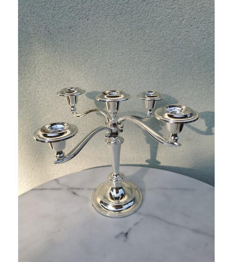Žvakidė penkių šakų metalinė. Kaina 36