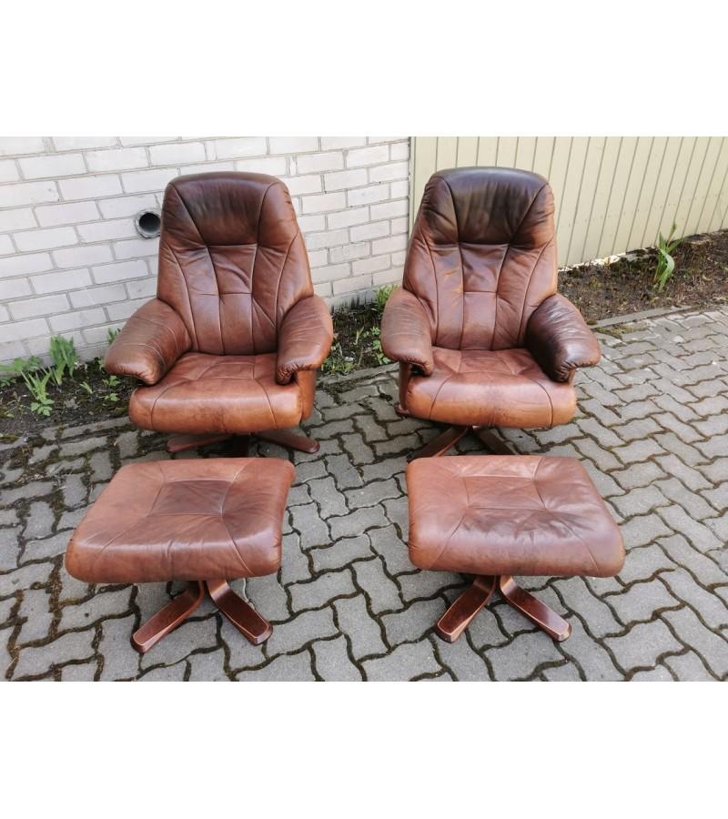 Foteliai natūralios odos, švediški, stilingi, ergonomiški, su pakojais Anderssons. 2 vnt. Kaina po 157