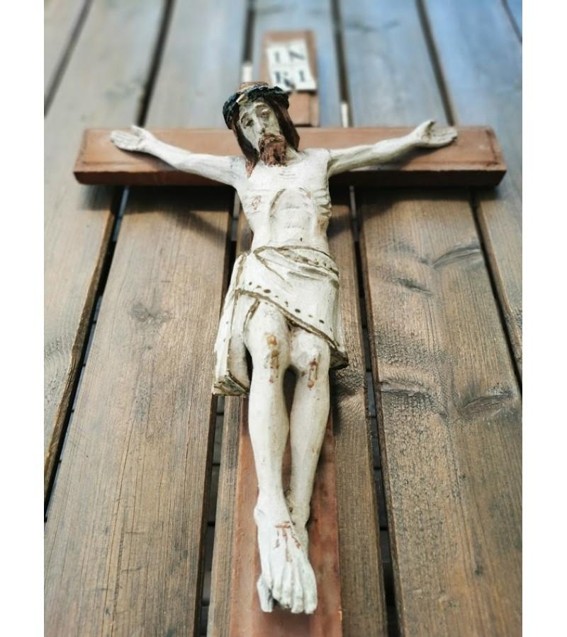 Nukryžiuotasis Jėzus, krucifiksas antikvarinis, tarpukario laikų, medinis. Kaina 168