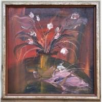 Paveikslas Puokštė. Osvaldas Juška. (1960-2020). Aliejus, drobė. 60 x 60 cm. 1988 m. Kaina 193