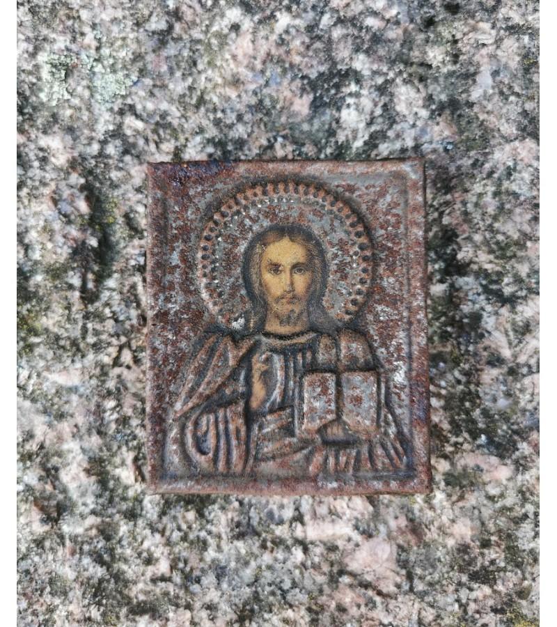 Ikona antikvarinė skardinė, tapyta, mediniu pagrindu. Kaina 43