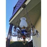 Šviestuvas žibalinis, elektrifikuotas su 6 žvakidėmis, antikvarinis. Art Nouveau stilius, majolika, Kaina 415