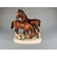Statulėlė porcelianinė Žirgai, arkliai. Vokietija. Kaina 43