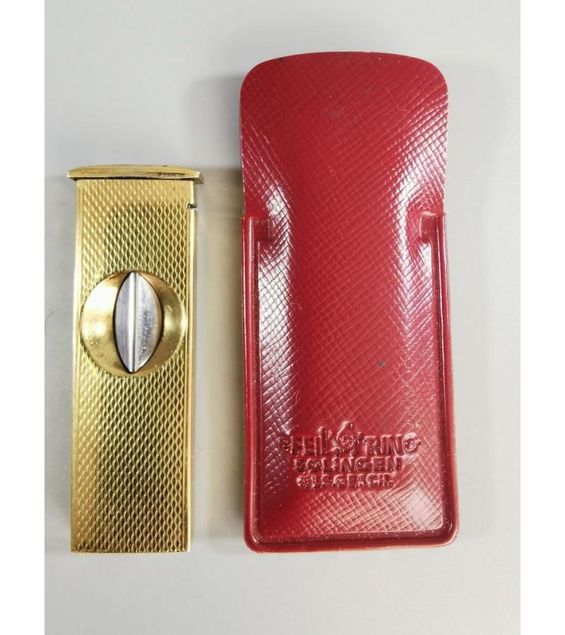 Cigarų giljotina, žirklės. PFEILRING SOLINGEN gold plated cigar cutter vintage 1950's VGVC Germany. Kaina 23