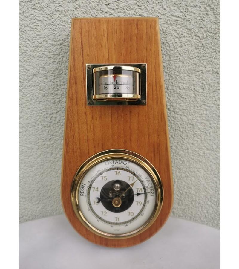 Barometras-termometras medinis, stilingas, vintažinis. Kaina 32