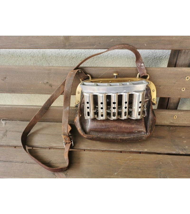 Konduktoriaus krepšys pinigams odinis, antikvarinis. Myntvaxlings Cambio Apparaten. 1920 m. Kaina 187