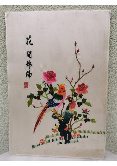 Paveikslas siuvinėtas, vintažinis. Kinija. Kaina 22