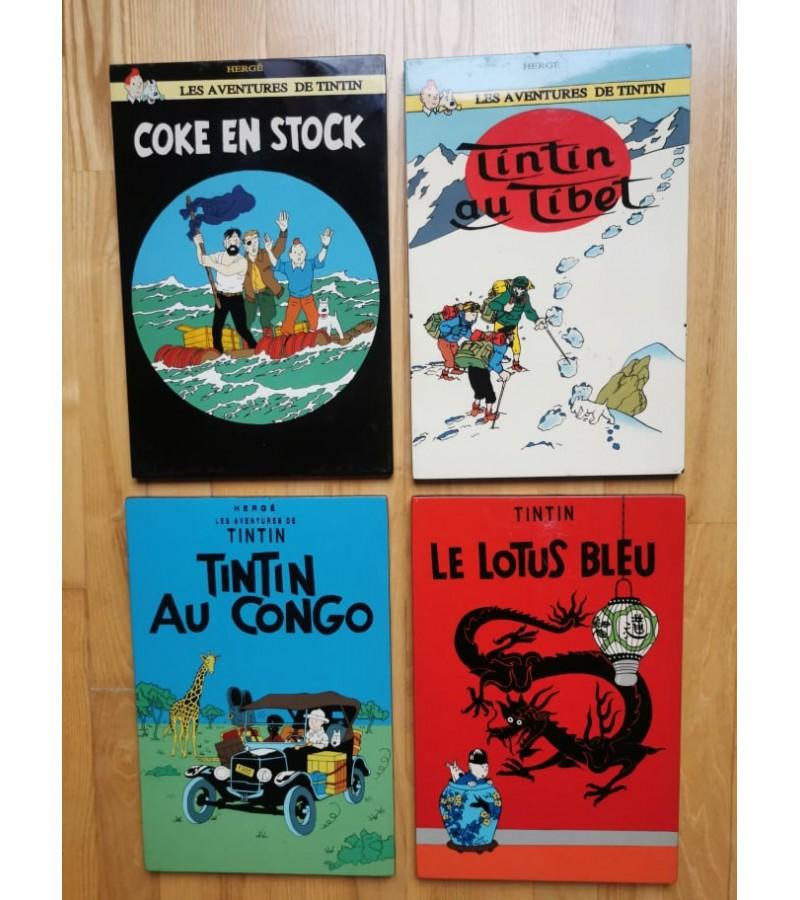 Lentelės komiksų, Tintino nuotykiai, pakabinamos, vintažinės. Dydis: 30 x 30 cm. Kaina po 8