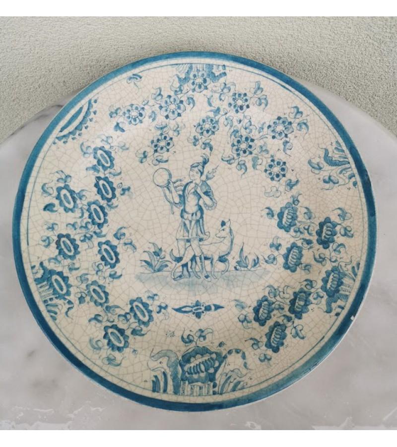 Lėkštė pakabinama, didelė, antikvarinė, fajanso. Ispanija. Skersmuo 34 cm. Kaina 53