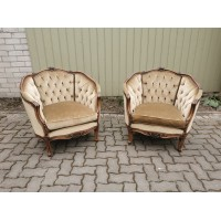 Foteliai, krėslai patogūs, riešutmedžio, neobaroko stiliaus. 2 vnt. REZERVUOTA