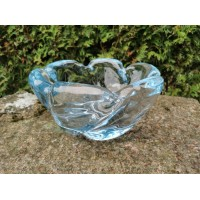 Vaza storo presuoto stiklo, Mid-century modern stiliaus. Autorinė. Svoris 4,7 kg. Kaina 87
