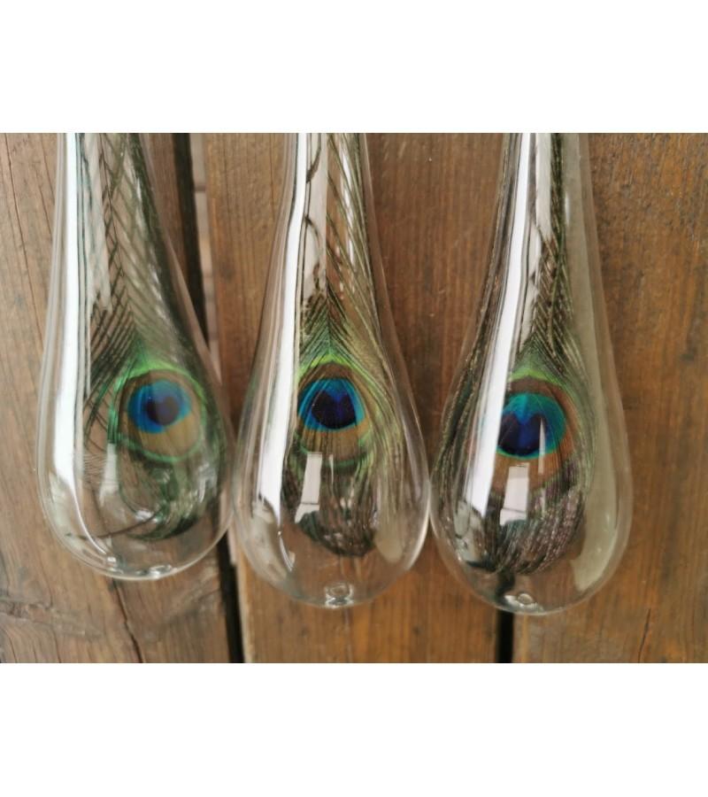Papuošimai-povo plunksnos stikle. 3 vnt. Kaina po 32