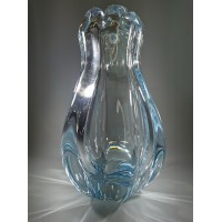 Vaza storo presuoto stiklo, Mid-century modern stiliaus. Autorinė. Kaina 53