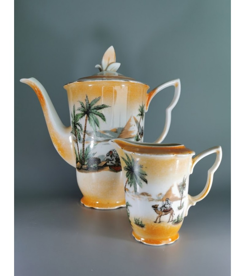 Arbatinukas, kavinukas, indas pienui, grietinėlei porcelianiniai. antikvariniai, Art Deco stiliaus, tarpukario Čekoslovakija. Kaina 33 už abu.