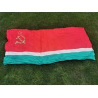 LTSR vėliava, tarybinių, sovietinių laikų. Dydis 90 x 180 cm. Kaina 37