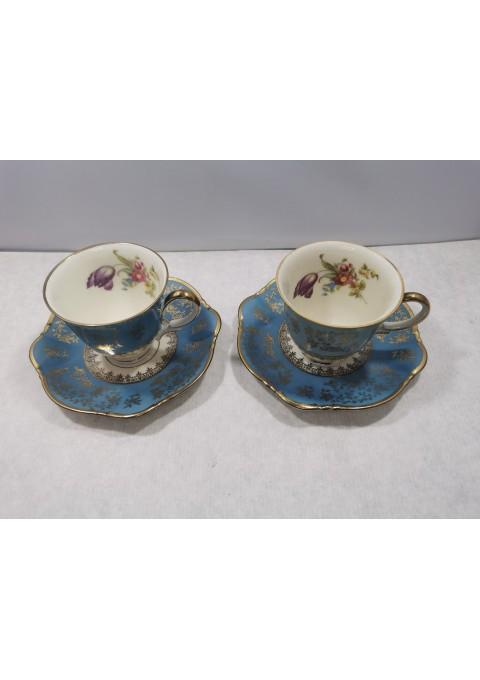 Puodelis su lėkštute porcelianiniai. 2 vnt. Zeh, Scherzer. Bavaria Germany. Talpa 70 ml. Kaina po 8
