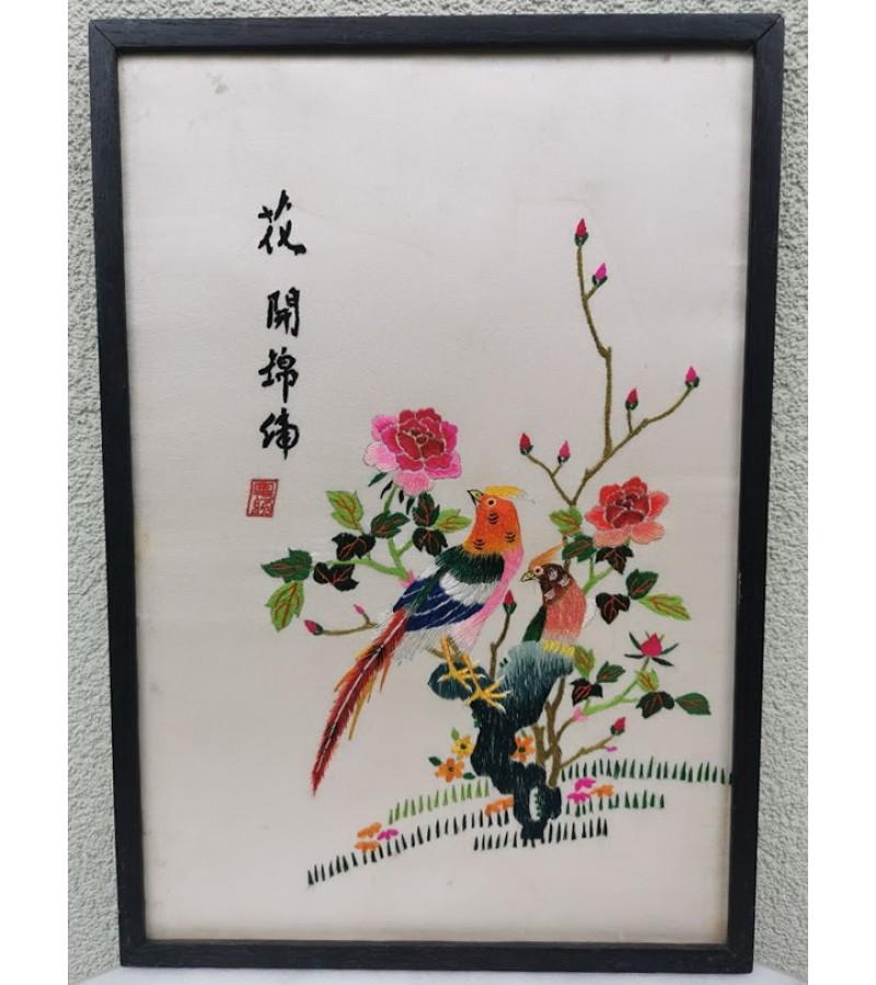 Paveikslas siuvinėtas, vintažinis. Kinija. Kaina 23