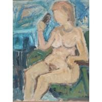 Paveikslas Moters aktas. Drobė, aliejus. Dydis: 75 x 95 cm. Kaina 93