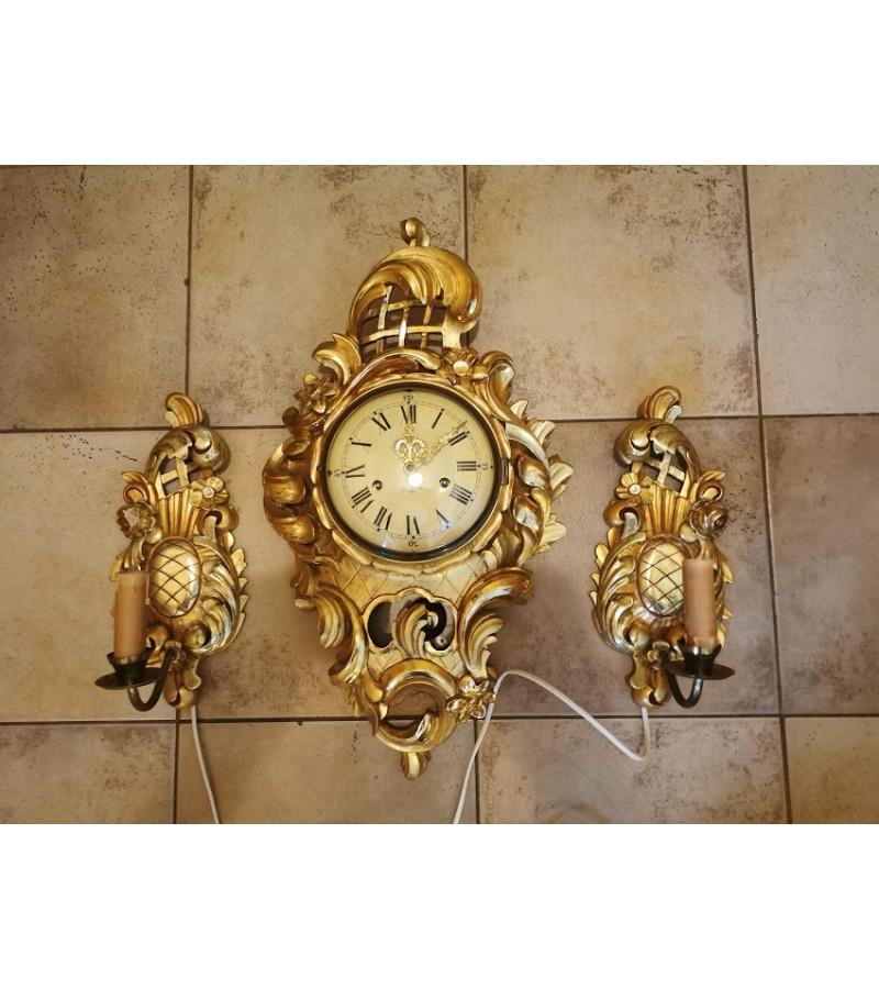 Laikrodis ir bra šviestuvai, antikvariniai. Laikrodis veikiantis, patikrintas laikrodininko. Kaina laikrodžio 163, šviestuvų kaina po 33.