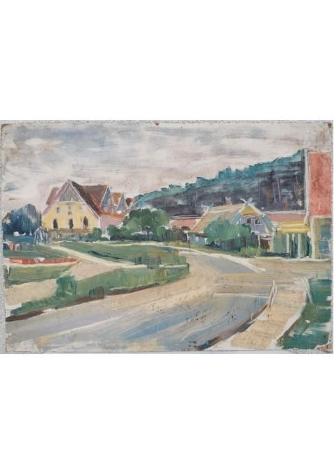 Paveiksas Nidos peizažas. Kartonas, aliejus. Autorius galimai Sigitas Švirmickas (1924-1996 m.). Kaina 87