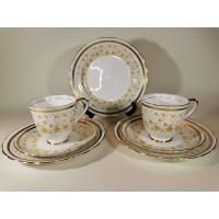 Puodeliai su lėkštutėmis porcelianiniai, angliški, New Chelsea Staffs. 7 vnt. Talpa 120 ml, Kaina po 6