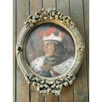 Paveikslas Vytautas Didysis. Kartonas, aliejus, rėmas gipsinis, bronzuotas. Kaina 122