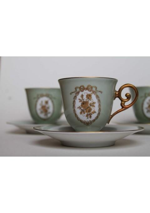 Puodeliai su lėkštutėmis porcelianiniai. Bavaria, Germany. Talpa 80 ml. 7 vnt. Kaina po13