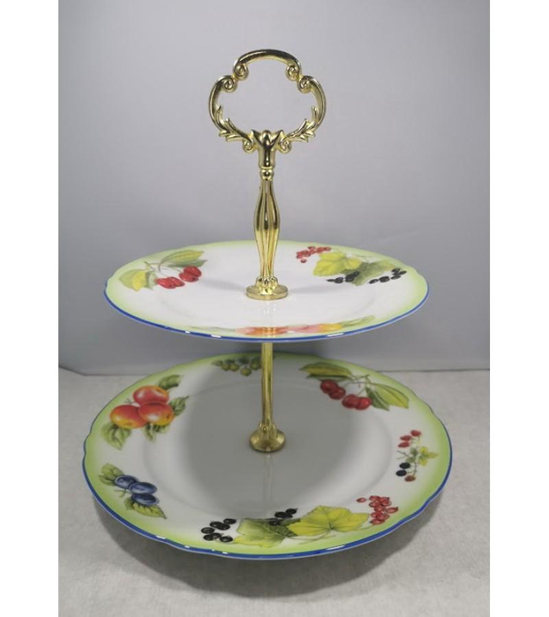 Lėkštė porcelianiė vaisiams, pyragaičiams, dviejų aukštų padėklas, antikvarinis. Kaina 32