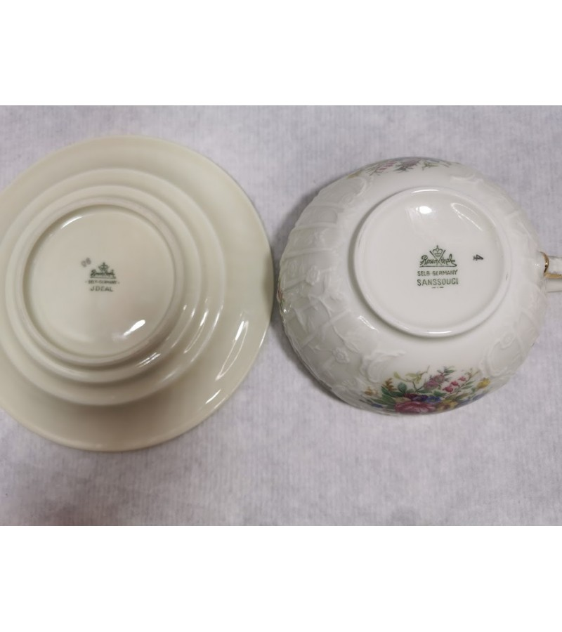 Puodelis porcelianinis Rosenthal Selb-Germany Sanssouci. Talpa 220 ml. Lėkštutė Rosenthal Selb-Germany Jdeal. REZERVUOTA
