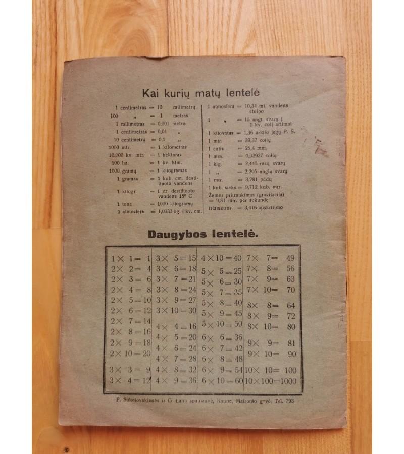 Sąsiuvinys tarpukario Lietuvos laikų. Kaina 13