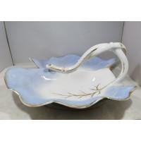 Padėklas, indas dviejų dalių su rankena, porcelianinis, antikvarinis. Kaina 23