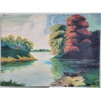 Paveikslas Didelės upės peizažas. 1933 m. Drobė. Dydis: 78 x 107 cm. Įsigytas Kaune. Kaina 63