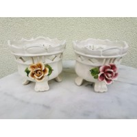 Vazonai gėlėms keraminiai, glazūruoti, itališki. 2 vnt. Kaina po 27