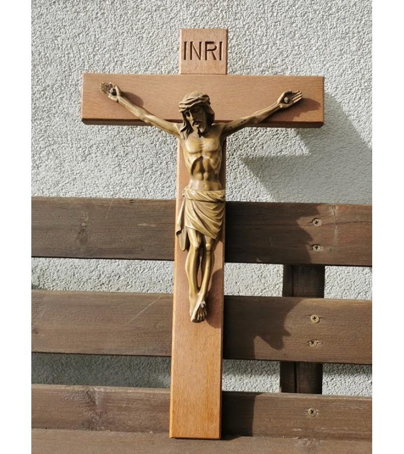 Nukryžiuotasis Kristaus figūra, Krucifiksas. Metalinis. Dydis: 36 x 61 cm. Kaina 82