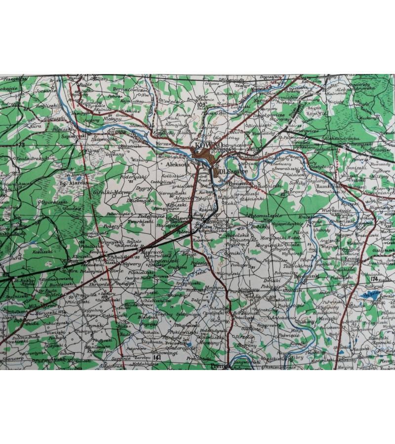 Karinis slaptas topografinis žemėlapis, KAUNAS. 1944 m. Published by War Office, 1944.  Kaina 42