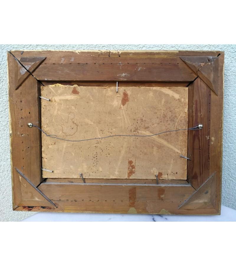 Paveikslėlis antikvarinis. Aliejus, kartonas. Kaina 42