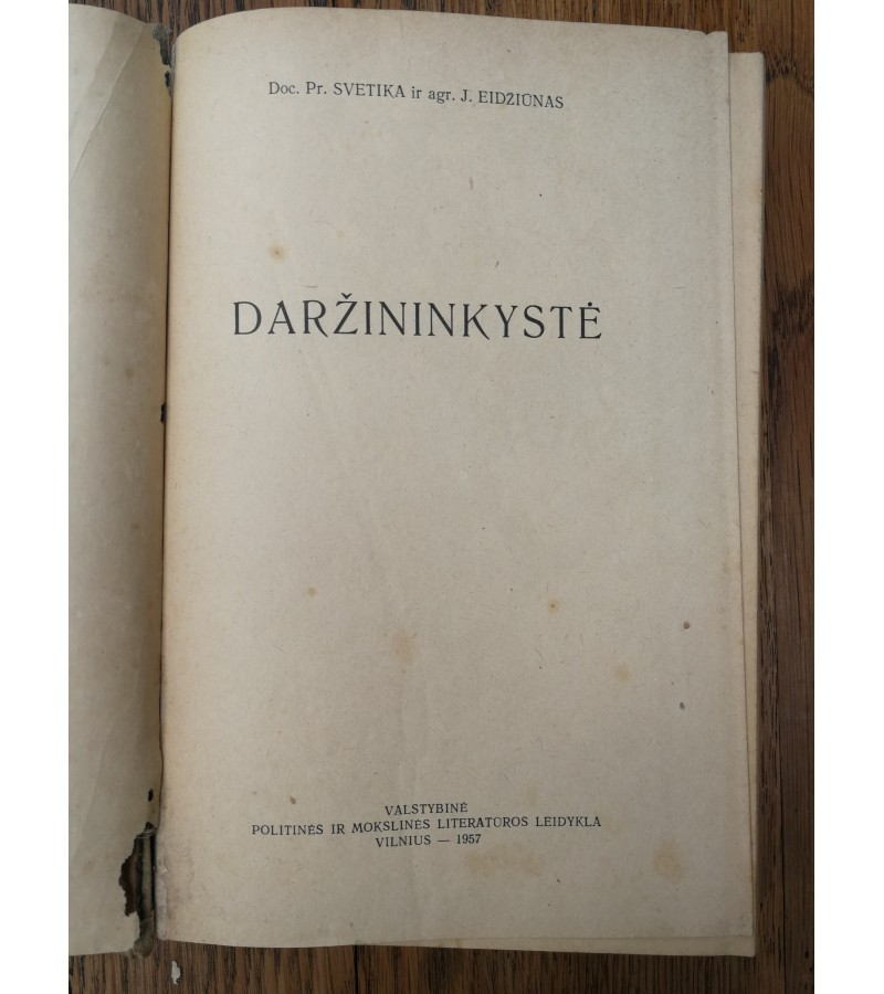 Knyga Daržininkystė. 1957 m. Kaina 7